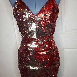 Forever21 red sequin mini dress